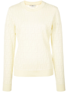 Fendi - Jacquard Knit Ff Logo Sweater Yellow - Women