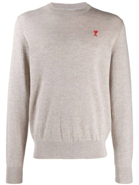 Ami Alexandre Mattiussi - Wool Crew Neck Sweater Beige Mastic - Men