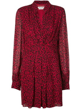 Saint Laurent - Red Leopard Draped Short Dress - Women