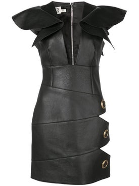 Fausto Puglisi - Leather Cut-out Detail Mini Dress - Mini
