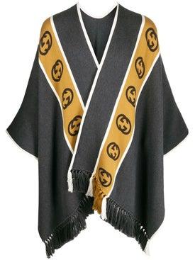 02741a5a9cfe Gucci - Wool Poncho With Interlocking G Stripe Grey - Sweaters & Knitwear  ...