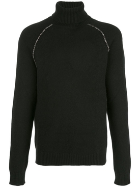 Cactus elbow patch cashmere sweater BLACK