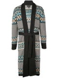 Alanui - Abstract Pattern Long Wool Cardigan Londra Grey - Men