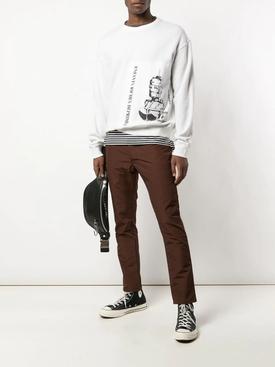 Chocolate brown straight-leg trousers