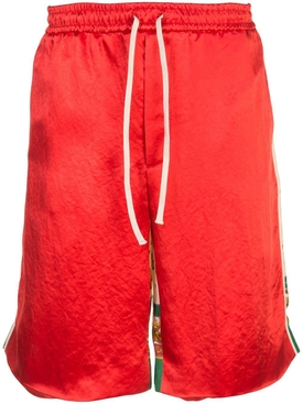 Double sided loose fit silk track shorts