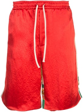 Gucci - Double Sided Loose Fit Silk Track Shorts - Men