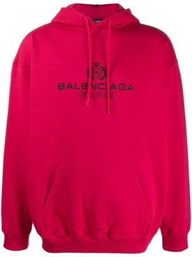 Balenciaga - Bb Over-sized Paris Logo Hoodie Red - Men