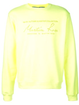 Martine Rose - Fluorescent Yellow Classic Logo Sweatshirt - Men
