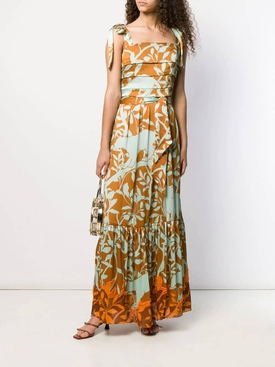 green and yellow floral maxi dress