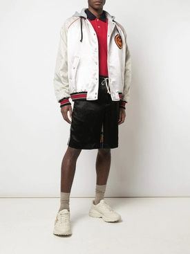 Acetate bomber jacket with lyre patch PINK