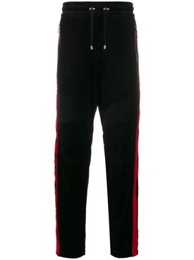 Balmain - Velvet And Red Side Panel Track Pants - Men