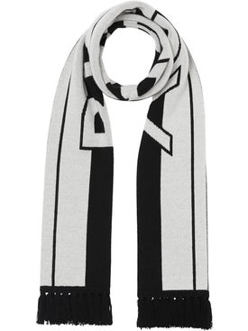 Burberry - Black And White Logo Cashmere Scarf - Men