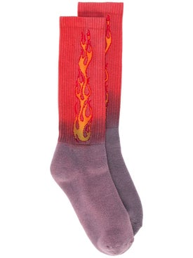 Palm Angels - Ombre Flame Logo Socks Red - Men