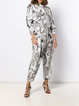 Grey horse print blouse