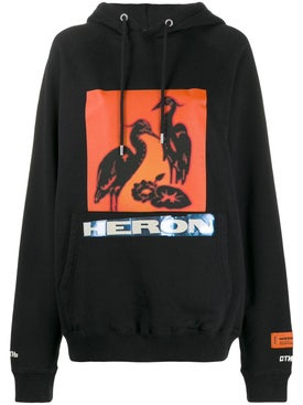 Heron Preston - Orange Logo Print Hoodie - Women