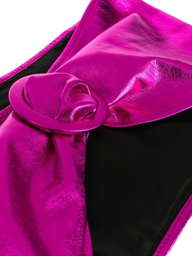 Leather metallic waist belt FUSCHIA