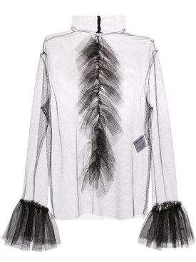 Carmen March - Mesh Ruffles Blouse - Women