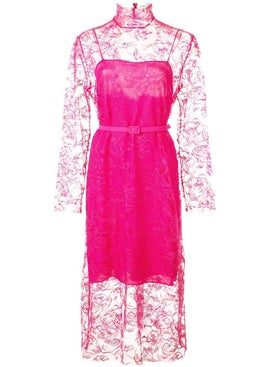 Carmen March - Hot Pink Floral Lace Dress - Long-sleeve