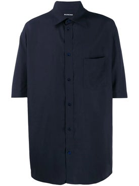 Balenciaga - Navy Logo Tab Short Sleeve Shirt - Men
