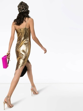 Asymmetric gold lamé dress