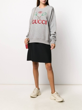 Gucci Tennis embroidered cotton sweatshirt GREY