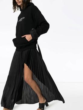 Distressed logo print hoodie BLACK