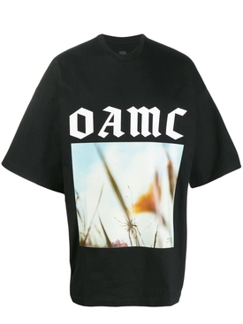 over-sized logo graphic print t-shirt BLACK