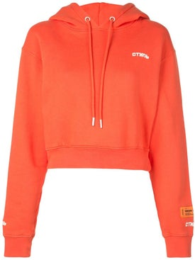 Heron Preston - Coral Red Fire Crop Hoodie - Women