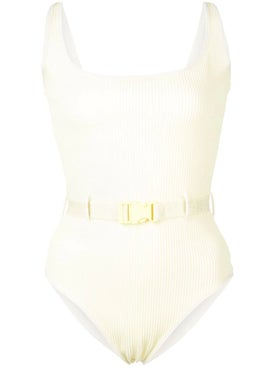Off-white - Belted Scoop Back Swimsuit Yellow - Beachwear
