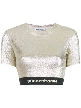 Paco Rabanne - Metallic Stretch Lurex Crop Top - Women