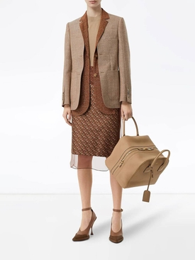 Beige leather cube bag