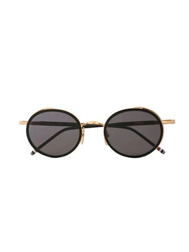Thom Browne - Black And Gold Round Framed Sunglasses - Men