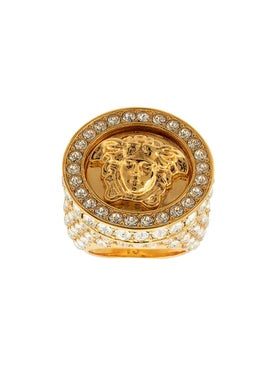 Versace - Embellished Crystal Medusa Ring - Women