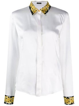 Versace - Baroque Trim Silk Satin Shirt - Women