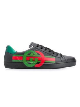 Gucci - Gg Green And Red New Ace Sneaker Black - Men