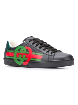 GG Green and red NEW ACE SNEAKER BLACK