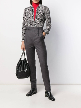 grey high-waisted tapered trousers