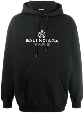 Balenciaga - Bb Over-sized Paris Logo Hoodie Black - Men