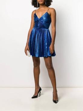 blue metallic pleated mini dress