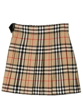 Kids buckled check wrap skirt