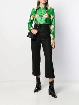 harness-print silk shirt