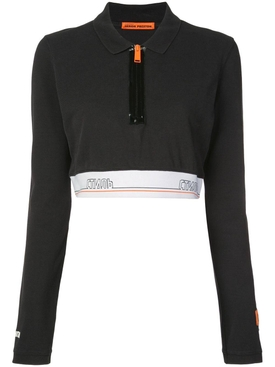 Tape cropped polo shirt