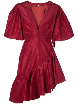 red silk ruffled dress