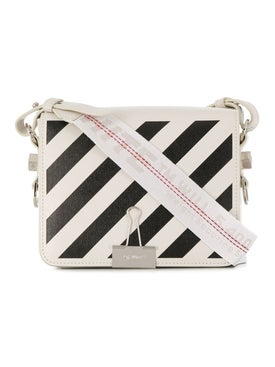 Off-white - Diagonal Stripe Binder Clip Crossbody Bag Off White - Women
