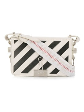 Off-white - Mini Diagonal Stripe Binder Clip Crossbody Bag Off White - Women