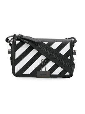 Off-white - Mini Diagonal Stripe Binder Clip Crossbody Bag Black & White - Women