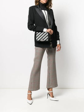 Off-white - Diagonal Stripe Binder Clip Crossbody Bag Black & White - Women
