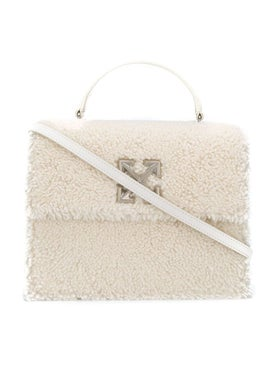 Off-white - 2.8 Jitney Shearling Top-handle Bag - Women