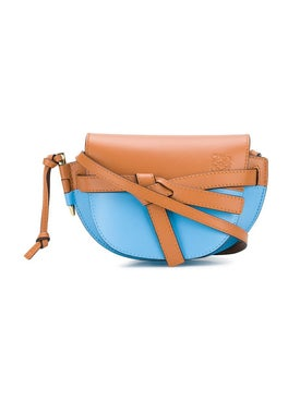 Loewe - Color Blocked Mini Gate Bag Brown & Blue - Women