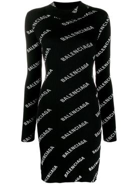 All-over logo mini dress BLACK